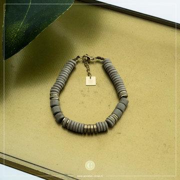 Zag Bijoux Zag Bijoux Bracelet Grey Stone Goudkleurig