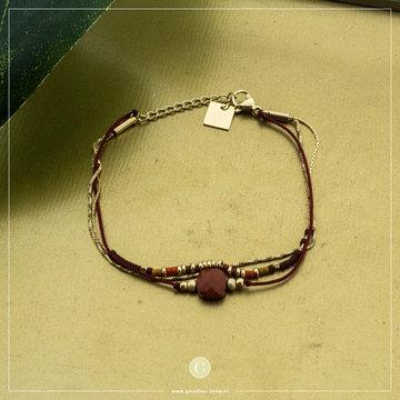 Zag Bijoux Zag Bijoux Bracelet Brown Stone Goudkleurig