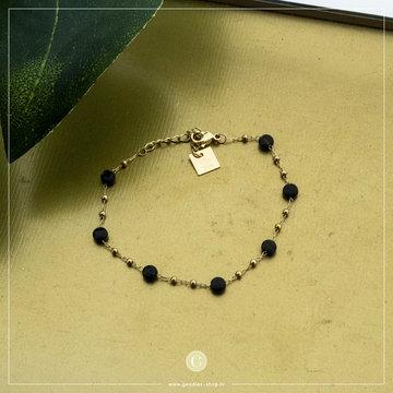Zag Bijoux Zag Bijoux Bracelet Black Stone Goudkleurig