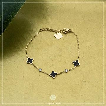 Zag Bijoux Zag Bijoux Armband Zwarte Klavers Goudkleurig