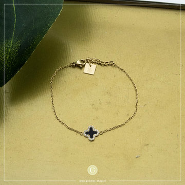 Zag Bijoux Zag Bijoux Armband Zwarte Klaver Goudkleurig