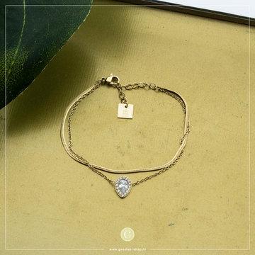 Zag Bijoux Zag Bijoux Armband Zilverkleurige Parel Goudkleurig