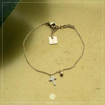 Zag Bijoux Zag Bijoux Armband Kruis Goudkleurig