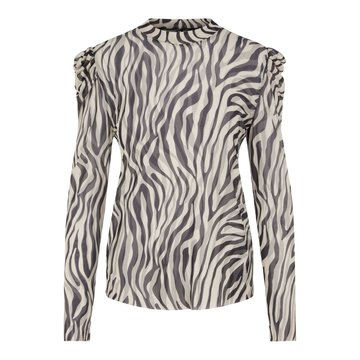 Pieces Pieces Top Met Zebraprint Zwart / Wit