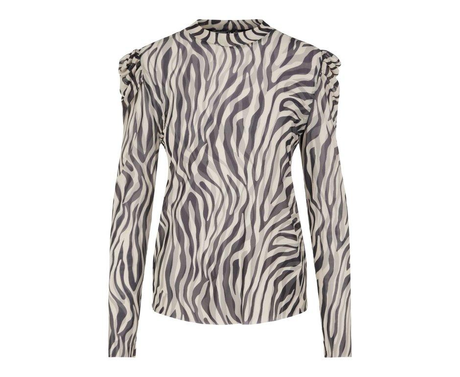 Pieces Pieces PCZee LS Mesh T-Neck Top Black Zebra