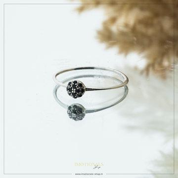 Imotionals Imotionals Black Stones Ring Zilverkleurig