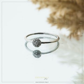Imotionals Imotionals Aanschuifring Glad Sparkle Ball Zilver