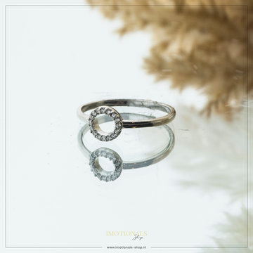 Imotionals Imotionals Aanschuifring Glad Mini Diamond Circle Zilver