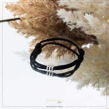 Imotionals Imotionals Silk Cord Armband 3 Dots Zilverkleurig
