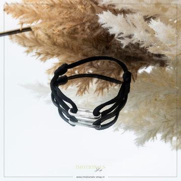 Imotionals Imotionals Silk Cord Armband Chain Zilverkleurig