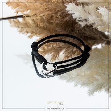 Imotionals Imotionals Silk Cord Armband Hart Zilverkleurig