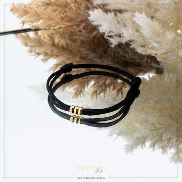 Imotionals Imotionals Silk Cord Armband 3 Dots Goudkleurig