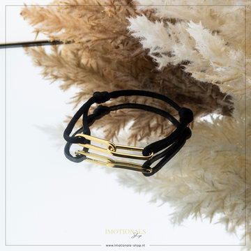 Imotionals Imotionals Silk Cord Armband Double Chain Goudkleurig