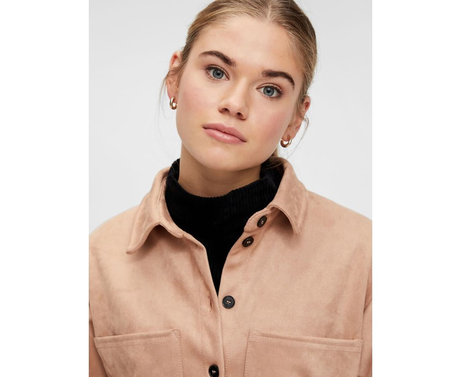 Pieces Pieces PC Rubie LS Shacket Warm Taupe