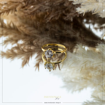 Imotionals Imotionals Diamond Large Ring Goudkleurig