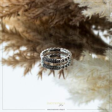 Imotionals Imotionals Bar Black Stones Ring Zilver