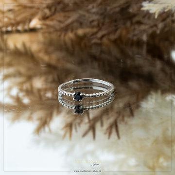 Imotionals Imotionals Aanschuifring Ribbel Black Diamond Zilver