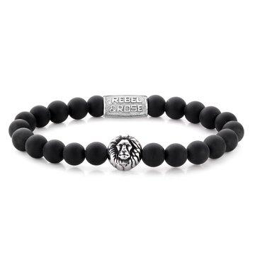 Rebel & Rose Rebel & Rose Zwarte Armband Lion Head M