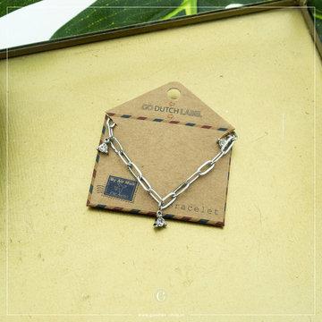 Go Dutch Label Go Dutch Label Zilverkleurige Armband Crystallen Triangles