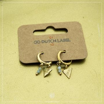 Go Dutch Label Go Dutch Label Goudkleurige Oorbellen Driehoek Mint Steentjes