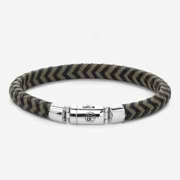 Rebel & Rose Half Round Braided Black-Olive 19,5 cm
