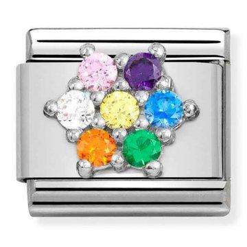 Nomination 330322-05 Flower with rainbow CZ