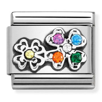 Nomination 330323-04 Four-leaf clovers with rainbow CZ