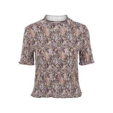 Pieces Pieces PCLeaste SS Smock Top BC Black Olive/With Purple