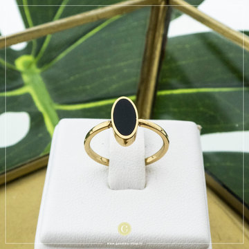 Charmin*s Charmin's R533 Fashion Seal Oval Gold Steel With Black Stone