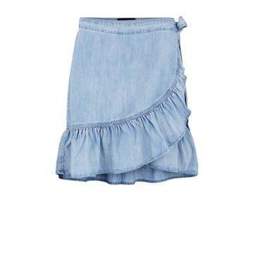 Pieces Pieces PC Tyra MW Wrap Skirt Light Blue Denim