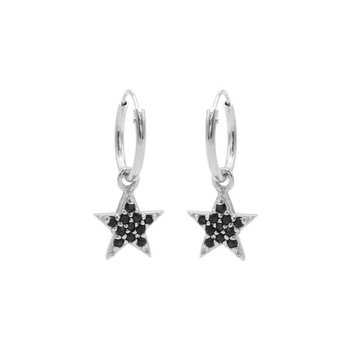 Karma Karma Hoops Symbols Black Zirconia Bright Star Silver