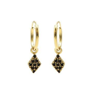 Karma Karma Hoops Symbols Black Zirconia Diamond Goldplated