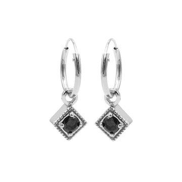 Karma Karma Hoops Symbol Black Zirconia Square Diamond Silver