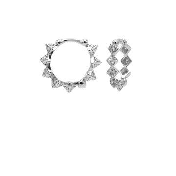 Karma Karma Plain Hinged Hoops Diamond Spike Silver 15MM