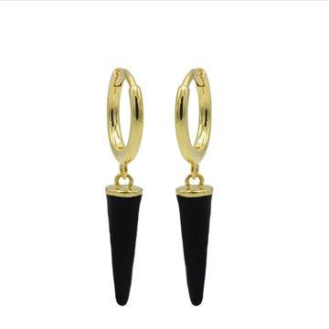 Karma Karma Hinged Hoops Emaille Long Cone Black Goldplated