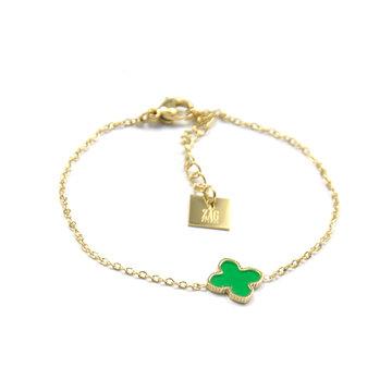 Zag Bijoux Zag Bijoux Armband Goudkleurig Clover Green