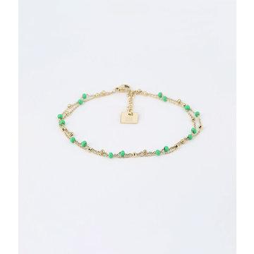 Zag Bijoux Zag Bijoux Armband Goudkleurig Double Beads Turquoise