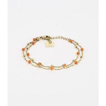 Zag Bijoux Zag Bijoux Armband Goudkleurig Double Beads Oranje
