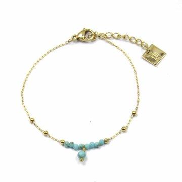 Zag Bijoux Zag Bijoux Armband Goudkleurig Stones Ball Chain Turquoise