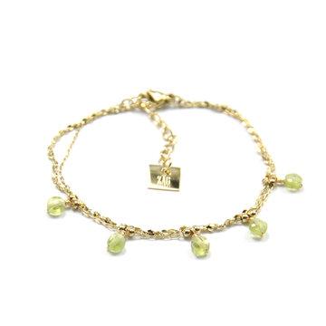 Zag Bijoux Zag Bijoux Armband Goudkleurig Double Pearls Groen