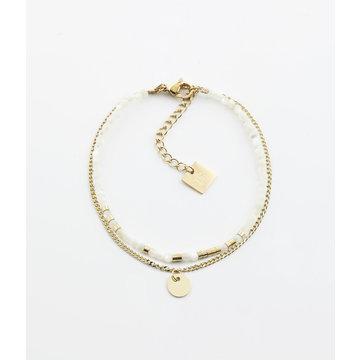 Zag Bijoux Zag Bijoux Armband Goudkleurig Chain And Beads Wit