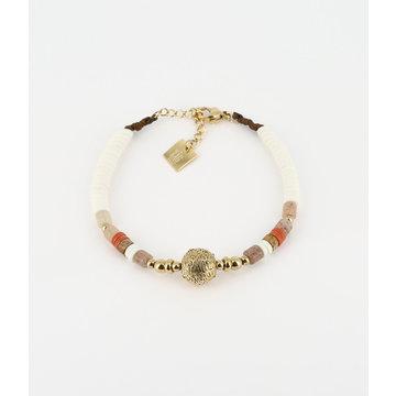 Zag Bijoux Zag Bijoux Armband Goudkleurig Disc and Stone Oranje