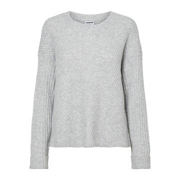 Noisy May Noisy May NM Star L/S Knit BG Light Grey Melange