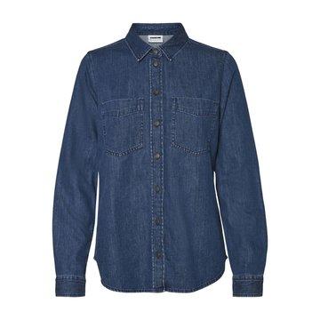 Noisy May Noisy May  NM Damla L/S Shirt Med. Blue Denim