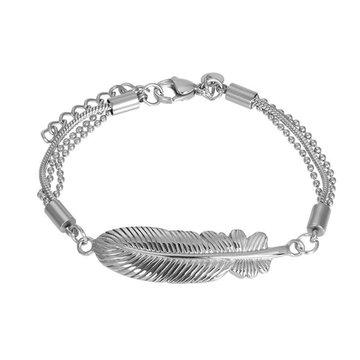 iXXXi Jewelry iXXXi Jewelry Armband Feather - Zilverkleurig