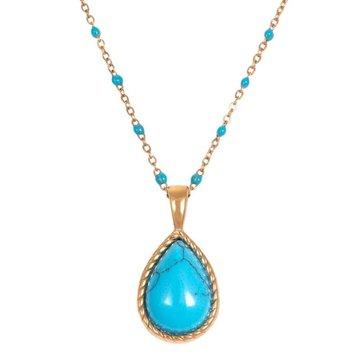 iXXXi Jewelry iXXXi Jewelry Ketting Magic Turquoise - Goudkleurig