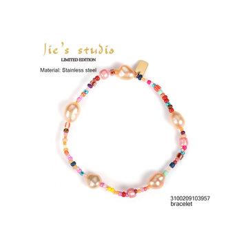 By Jam Gioielli By Jam Armband Pink Pearls Goudkleurig