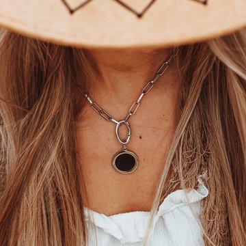 iXXXi Jewelry iXXXi Jewelry Square Chain Leather Ketting Zilverkleurig