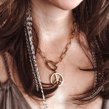iXXXi Jewelry iXXXi Jewelry Square Chain Peace Ketting Rosé