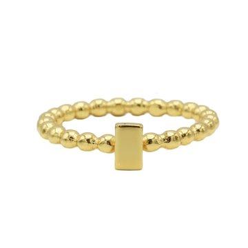 Karma Karma Ring Dots Rectangle Goldplated